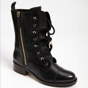 Valentino Ruffle Combat Boots